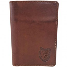 Tan Passport Cover with Irish Harp