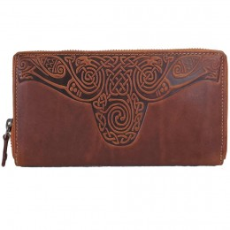Tan Leather Roisin Wallet with Celtic Knot